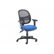 Vantage Mesh Medium Back Operator Chair With Adjustable Arms (Blue)