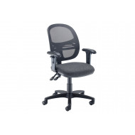 Vantage Mesh Medium Back Operator Chair With Adjustable Arms (Charcoal)