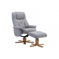 Bradley Luxury Fabric Recliner Chair with Footstool (Light Grey)