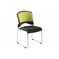 Pack of 2 Janon Sled Base Poly Conference Chairs With Upholstered Seat & Back