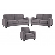 Donovan Fabric Chair, 2 Seater Sofa and 3 Seater Sofa Bundle Deal (Dusk Grey Chenille)