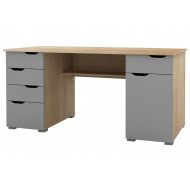 Grange Computer Desk (Light Oak With Grey Fronts)