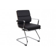 Next-Day Formosa Black Leather Faced Visitor Chair