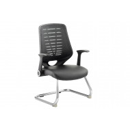 Baton Mesh Back Visitor Chair With Leather Seat