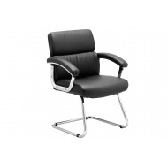 Crave Black Leather Faced Visitor Chair