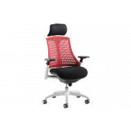 Warp White Frame Red Mesh Back Operator Chair With Headrest
