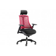 Warp Black Frame Red Mesh Back Operator Chair With Headrest