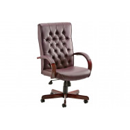 Next-Day Tronso Traditional Leather Armchair Burgundy