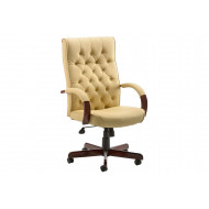 Tronso Traditional Leather Armchair Cream