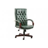 Tronso Traditional Leather Armchair Green