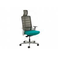 Arcadia Grey Mesh Back Posture Chair With Fabric Seat (Maringa Teal)
