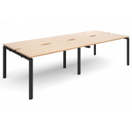 Prime Back To Back Double Narrow Bench Desk (Black Legs)
