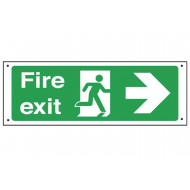 Fire Exit Vandal Resistant Sign With Arrow Pointing Right