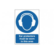 Ear protectors must be worn in this area safety sign