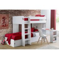 Poppy Bunk Bed With Study Desk (White)