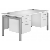 Solero Bench Leg Double Pedestal Desk (White)