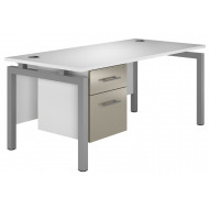 Illusion Bench Leg Single Pedestal Desk (Stone Grey)