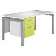 Solero Bench Leg Single Pedestal Desk (Green)
