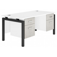 Delgado Bench Leg Double Pedestal Desk (Concrete)