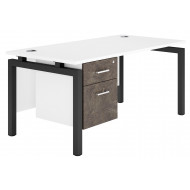 Delgado Bench Leg Single Pedestal Desk (Pitted Steel)