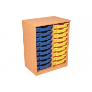 Premium Double Column Tray Storage Unit With 18 Shallow Trays