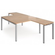 Next-Day Prime Back To Back Desks With Return (Silver Frame)