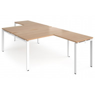 Prime Back To Back Desks With Return (White Frame)