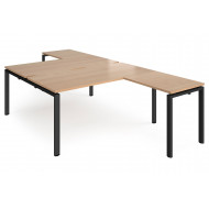 Prime Back To Back Desks With Return (Black Frame)