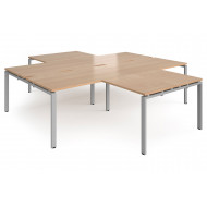 Prime Back To Back 4 Desk Cluster With Return (Silver Frame)