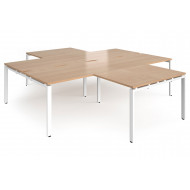 Prime Back To Back 4 Desk Cluster With Return (White Frame)