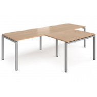Next-Day Prime Double Back To Back Desks With Return (Silver Frame)