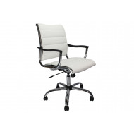 Next-Day Havana White Leather Faced Swivel Chair