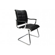 Next-Day Havana Black Leather Faced Visitor Chair