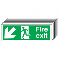 Fire Exit Sign With Running Man And Arrow Pointing Down Left (Multipack)