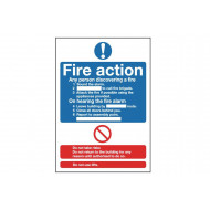 Standard fire action notice face adhesive vinyl sign