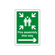 Fire Assembly This Way (Right Arrow) Outdoor Sign