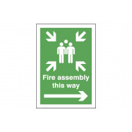 Fire Assembly This Way (Right Arrow) Post Mounted Safety Sign