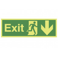 Nite-Glo Exit Sign With Running Man And Arrow Pointing Down