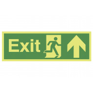 Nite-Glo Exit Sign With Running Man And Arrow Pointing Up