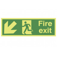 Xtra-Glo Fire Exit Sign With Running Man And Arrow Pointing Down Left