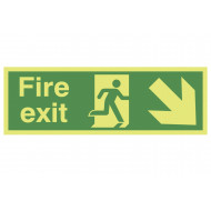 Nite-Glo Fire Exit Sign With Running Man And Arrow Pointing Down Right