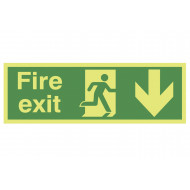 Xtra-Glo Fire Exit Sign With Running Man And Arrow Pointing Down