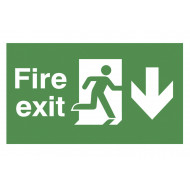 Fire Exit Double Sided Safety Sign With Running Man And Arrow Down