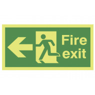 Xtra-Glo fire exit sign with running man and arrow pointing left