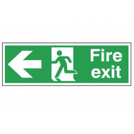 Fire exit running man arrow left deluxe safety sign