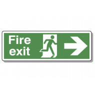 Fire exit running man arrow right deluxe safety sign