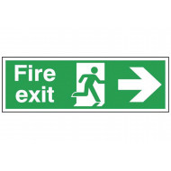 Fire Exit Double Sided Safety Sign With Running Man And Arrow Right