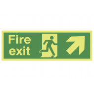 Xtra-Glo Fire Exit Sign With Running Man And Arrow Pointing Up Right