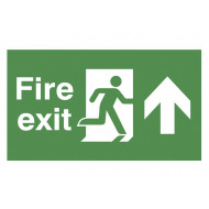 Fire Exit Double Sided Safety Sign With Running Man And Arrow Up