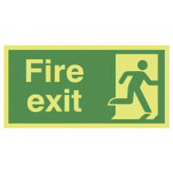 Xtra-Glo Fire Exit Sign With Man Running Right